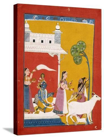 Rukmini Offering Water to the Sage Narada While Her Consort Krishna Sits in Her House--Stretched Canvas Print