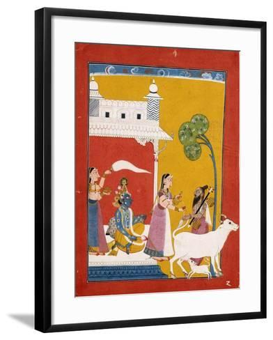 Rukmini Offering Water to the Sage Narada While Her Consort Krishna Sits in Her House--Framed Art Print