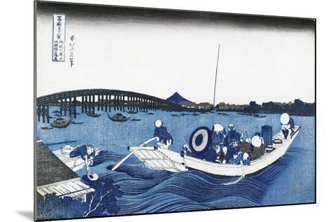Ryogoku Bridge at Night from the Oumaja Side--Mounted Giclee Print