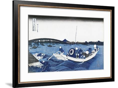 Ryogoku Bridge at Night from the Oumaja Side--Framed Art Print