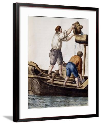 Sifting Canal Waters in Search of Lost Objects from Illustrated Book of Venetian Costumes--Framed Art Print