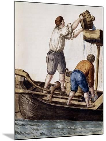Sifting Canal Waters in Search of Lost Objects from Illustrated Book of Venetian Costumes--Mounted Giclee Print
