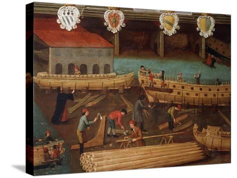 Signboard of Guild of Ship Carpentry in Arsenale of Venice--Stretched Canvas Print
