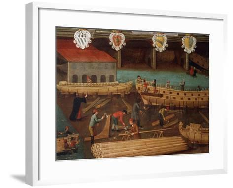 Signboard of Guild of Ship Carpentry in Arsenale of Venice--Framed Art Print