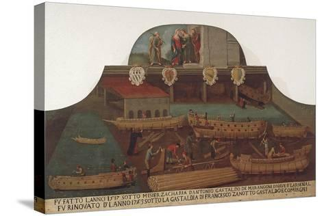 Signboard of the Guild of Ship Carpentry in the Arsenale of Venice--Stretched Canvas Print