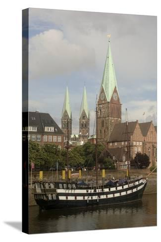 Sailing Ship Moored Along River Weser--Stretched Canvas Print