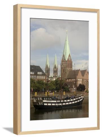 Sailing Ship Moored Along River Weser--Framed Art Print