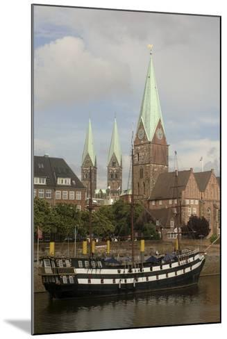 Sailing Ship Moored Along River Weser--Mounted Photographic Print