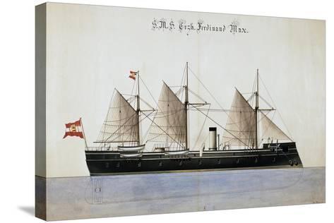 The Austrian Battleship the Erzherzog Ferdinand Max--Stretched Canvas Print