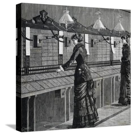 Telephone Operators of Italo-American Public Phone Service--Stretched Canvas Print