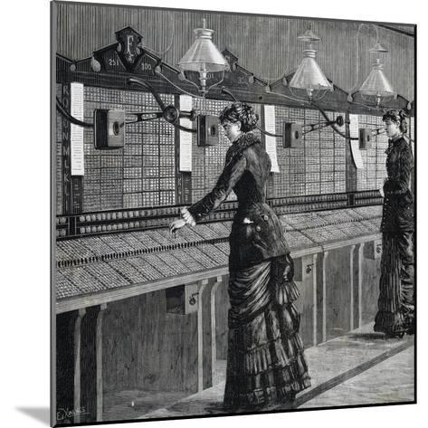 Telephone Operators of Italo-American Public Phone Service--Mounted Giclee Print