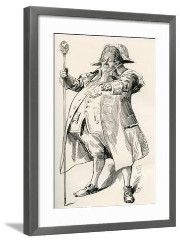 The Beadle. Illustration by Harry Furniss for Sketches by Boz by Charles Dickens--Framed Art Print
