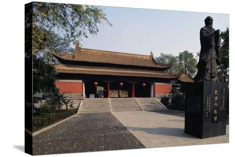 Statue of Confucius in Front of a Pavilion of Chaotian Palace--Stretched Canvas Print