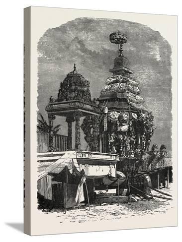 The Car of Juggernaut. Hindu Ratha Yatra Temple Car--Stretched Canvas Print