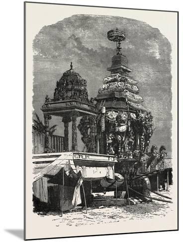 The Car of Juggernaut. Hindu Ratha Yatra Temple Car--Mounted Giclee Print