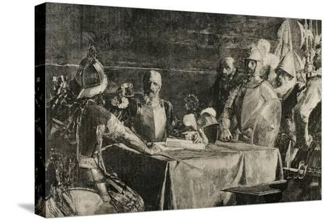 The Blood Compact's Ceremony Between Miguel Lopez De Legazpi (1503-1572) and Sikatuna--Stretched Canvas Print