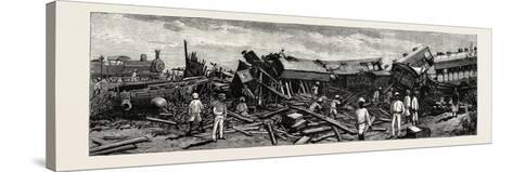 The Accident Near Nagpur on the Great Indian Peninsula Railway: the Wreck of the Leading Engine Is--Stretched Canvas Print