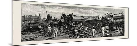 The Accident Near Nagpur on the Great Indian Peninsula Railway: the Wreck of the Leading Engine Is--Mounted Giclee Print