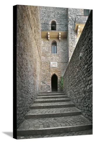 Staircase and Entrance Gate to Malatesta Castle--Stretched Canvas Print