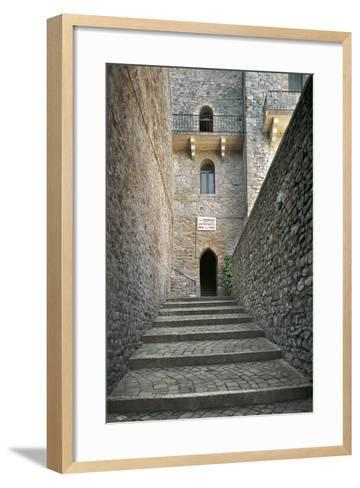 Staircase and Entrance Gate to Malatesta Castle--Framed Art Print