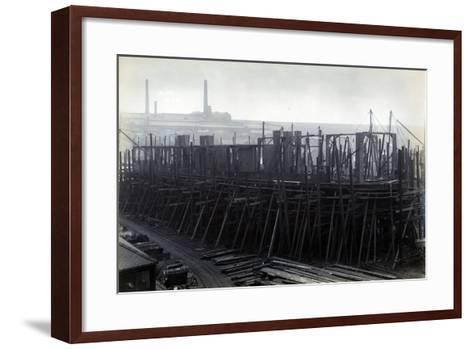 The Ice-Breaking Train Ferry Steamer 'Ss Baikal' in Frame During Construction by Sir W.G. Armstrong--Framed Art Print