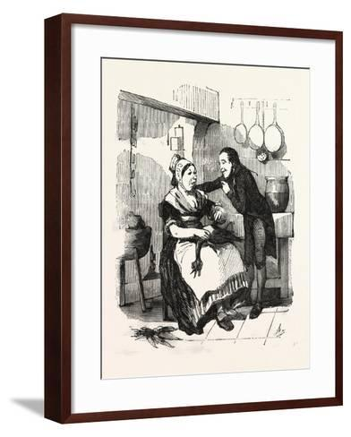 The Cook and Her Admirer in the Kitchen--Framed Art Print