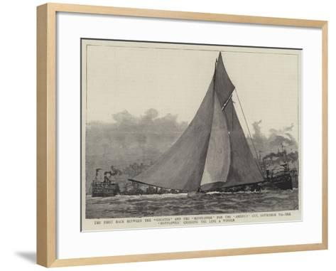 The First Race Between the Galatea and the Mayflower for the America Cup--Framed Art Print