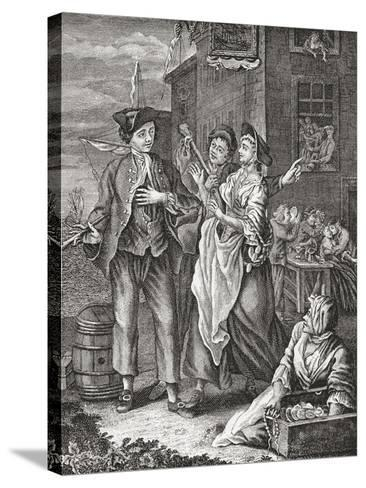 The Return of the Sailor. Prostitutes Proposition a Returning Sailor in a Port City. after an 18th--Stretched Canvas Print