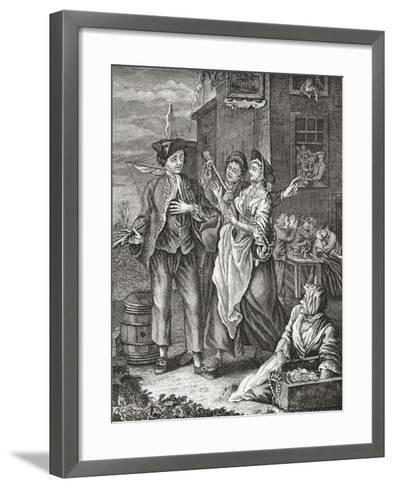 The Return of the Sailor. Prostitutes Proposition a Returning Sailor in a Port City. after an 18th--Framed Art Print
