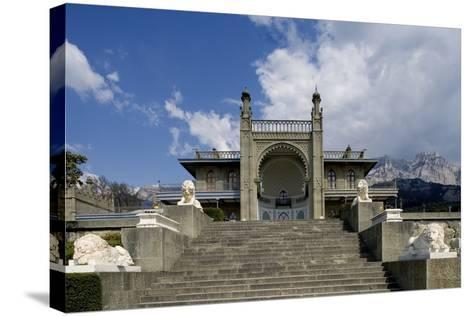 The White Marble Staircase and Lions from the Neo-Moorish Style Southern Facade of Vorontsov Palace--Stretched Canvas Print