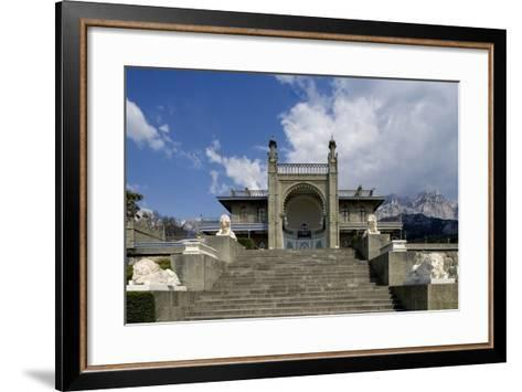 The White Marble Staircase and Lions from the Neo-Moorish Style Southern Facade of Vorontsov Palace--Framed Art Print