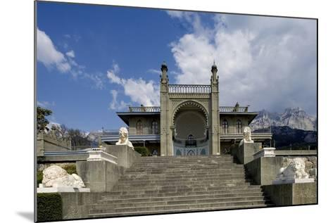 The White Marble Staircase and Lions from the Neo-Moorish Style Southern Facade of Vorontsov Palace--Mounted Photographic Print