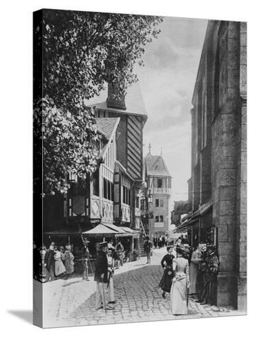 The Rue Des Vieilles Ecoles and the Church of Saint Julien--Stretched Canvas Print