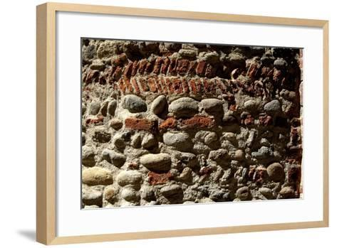 Wall in Stone and Brick Layered in Herringbone Pattern with Thick Layers of Mortar Surviving from R--Framed Art Print