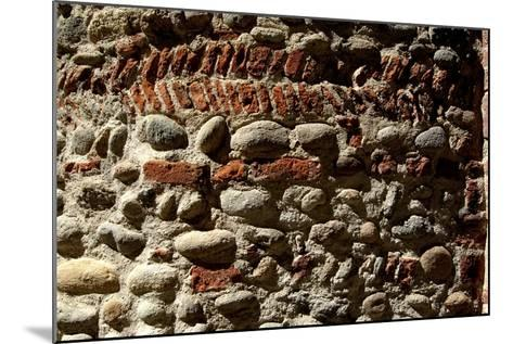 Wall in Stone and Brick Layered in Herringbone Pattern with Thick Layers of Mortar Surviving from R--Mounted Photographic Print