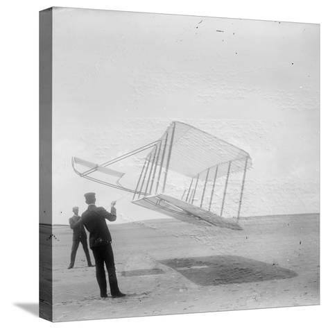 Wilbur Wright at Left and Orville Wright at Right--Stretched Canvas Print