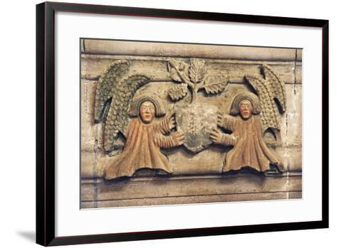 Two Angels Holding Coat of Arms--Framed Art Print