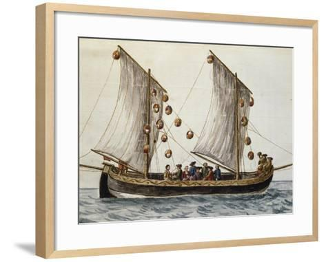 Venetian Boat Decked Out for Feast of Redeemer--Framed Art Print
