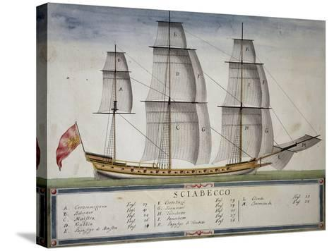 Xebec at Full Sail from Atlas of Sailing by Gian Maria Maffioletti--Stretched Canvas Print