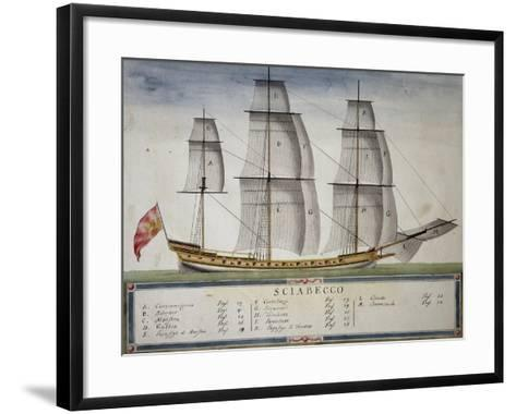 Xebec at Full Sail from Atlas of Sailing by Gian Maria Maffioletti--Framed Art Print