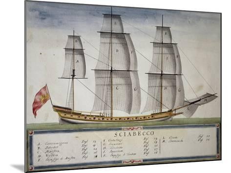 Xebec at Full Sail from Atlas of Sailing by Gian Maria Maffioletti--Mounted Giclee Print