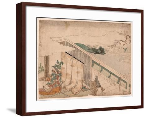 Ume Ni Uguisu O Nagameru Kanjo--Framed Art Print