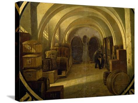 Wine Cellar with Wine Barrels--Stretched Canvas Print
