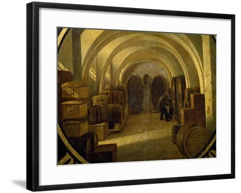 Wine Cellar with Wine Barrels--Framed Art Print