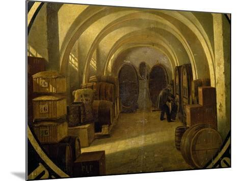 Wine Cellar with Wine Barrels--Mounted Giclee Print
