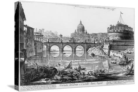 View of Bridge and Castle Sant'Angelo in Rome--Stretched Canvas Print