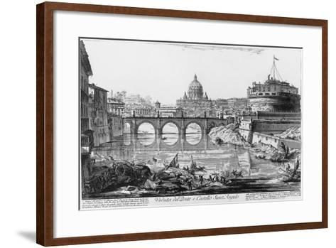 View of Bridge and Castle Sant'Angelo in Rome--Framed Art Print