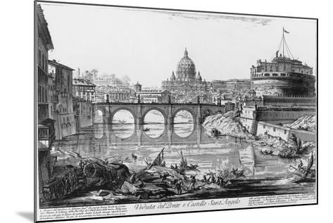 View of Bridge and Castle Sant'Angelo in Rome--Mounted Giclee Print