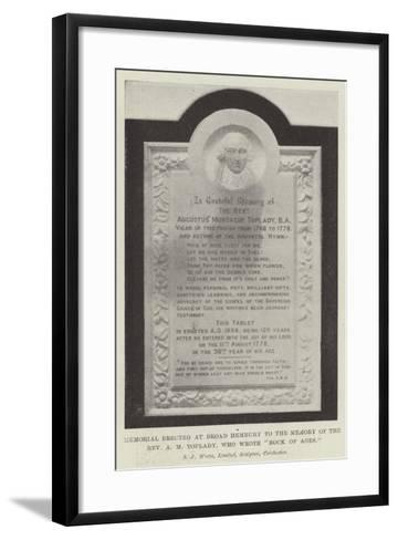 Memorial Erected at Broad Hembury to the Memory of the Reverend a M Toplady, Who Wrote Rock of Ages--Framed Art Print