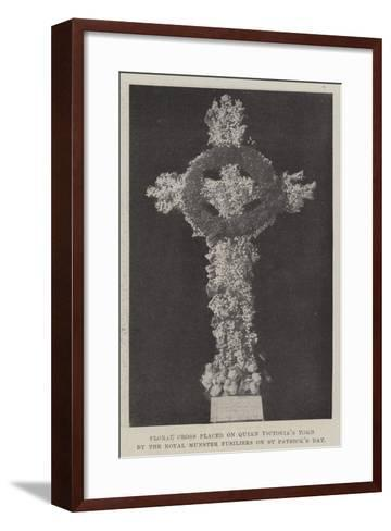 Floral Cross Placed on Queen Victoria's Tomb by the Royal Munster Fusiliers on St Patrick's Day--Framed Art Print